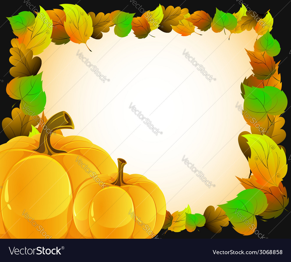 Pumpkins with autumn leaves vector | Price: 1 Credit (USD $1)