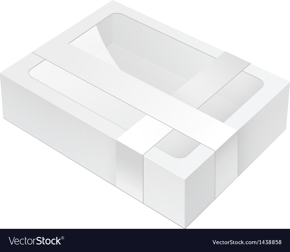 Realistic white package box vector | Price: 1 Credit (USD $1)