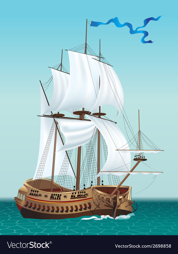 Sailing ship in the sea vector