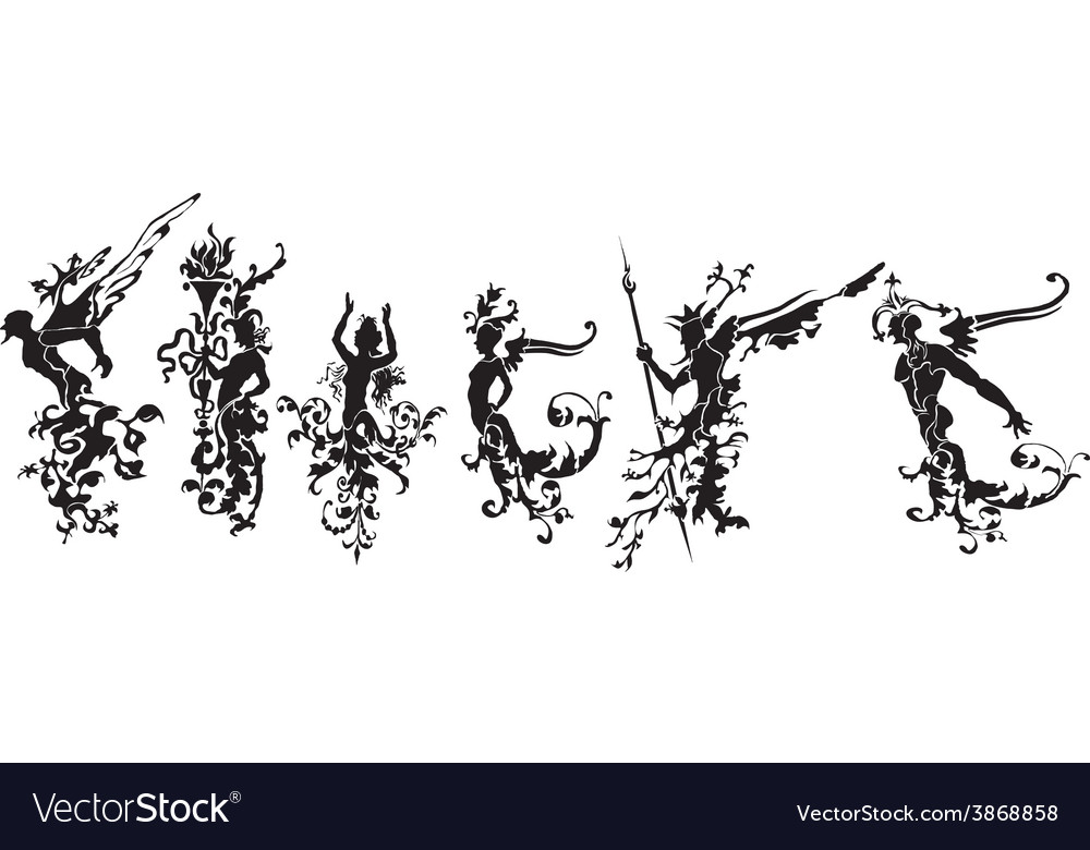 Set of silhouettes of abstract figures vector | Price: 1 Credit (USD $1)