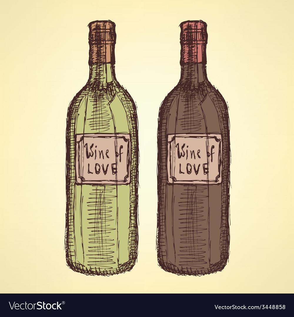 Sketch wine bottle in vintage style vector | Price: 1 Credit (USD $1)