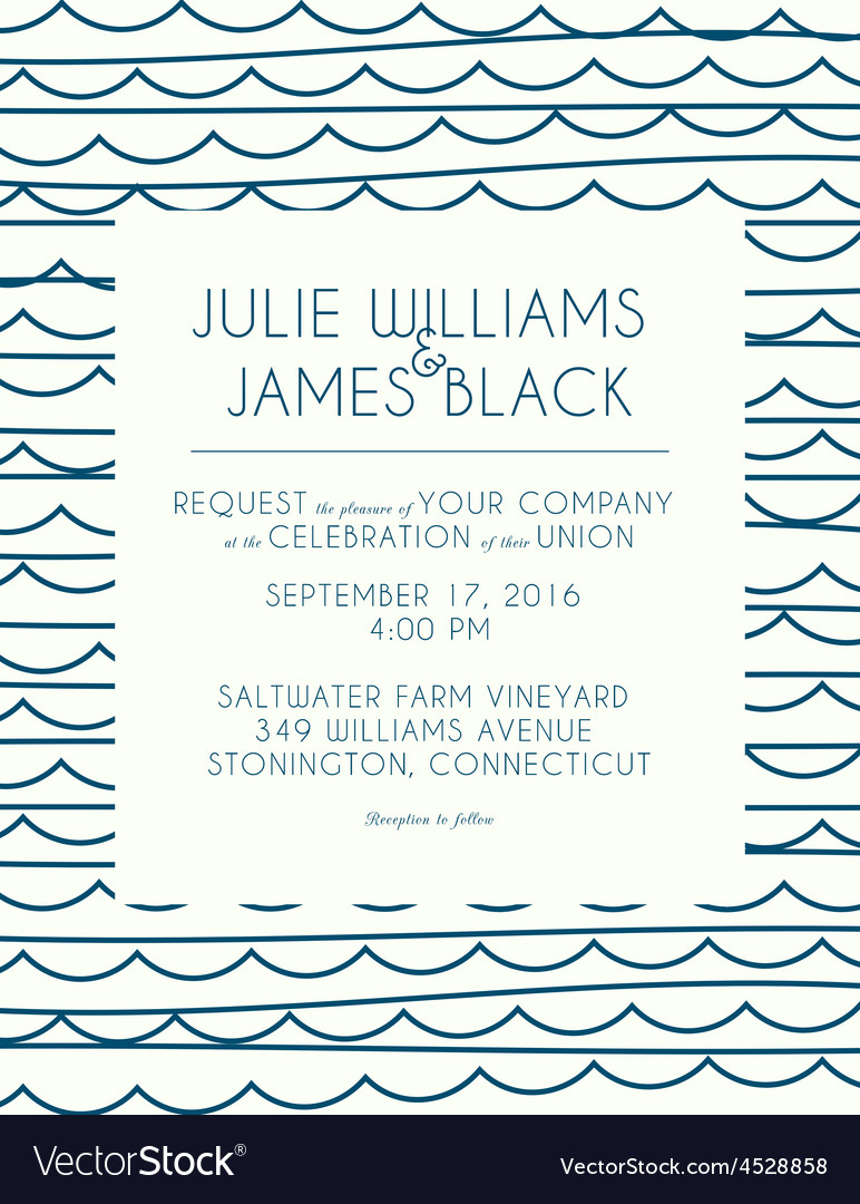 Wedding invitation card with abstract water vector | Price: 1 Credit (USD $1)