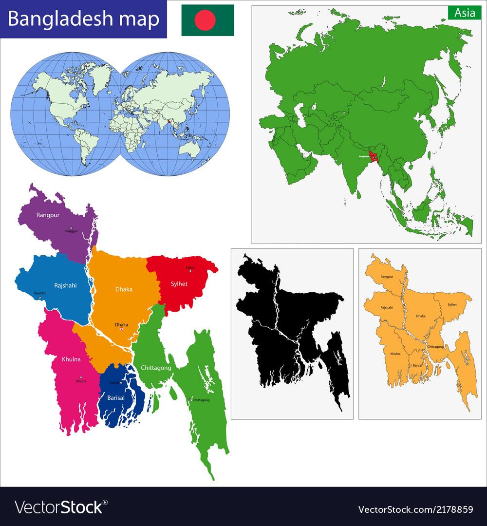 Bangladesh map vector | Price: 1 Credit (USD $1)