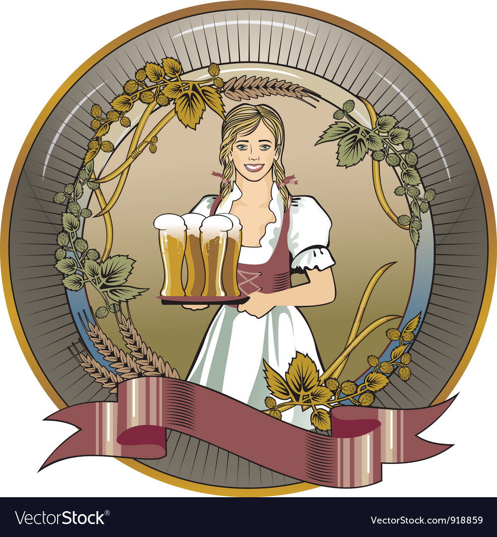 Beer waitress radial vector | Price: 1 Credit (USD $1)
