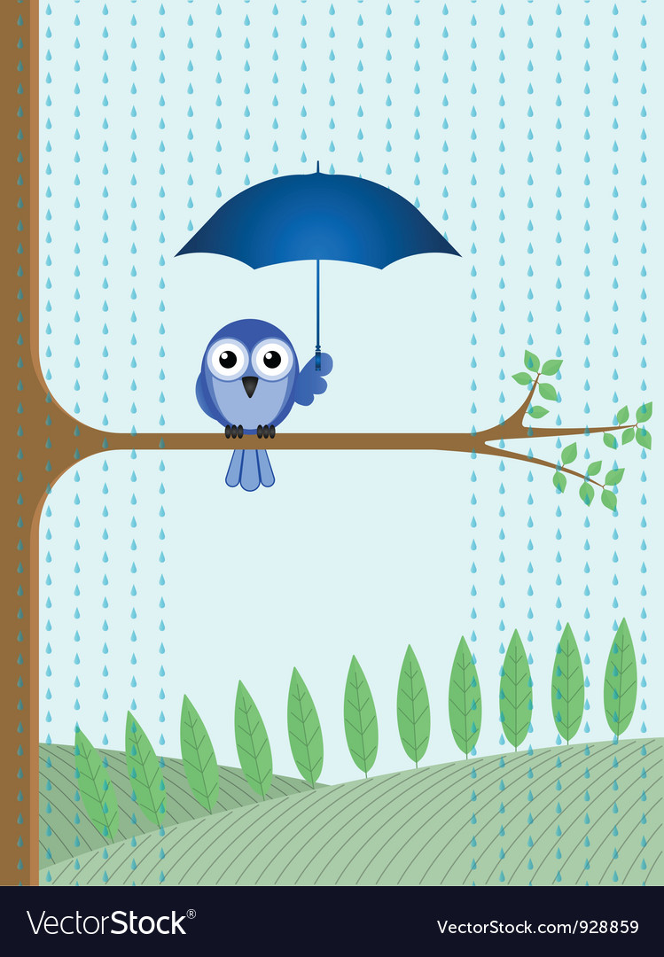 Bird tree rain vector | Price: 1 Credit (USD $1)