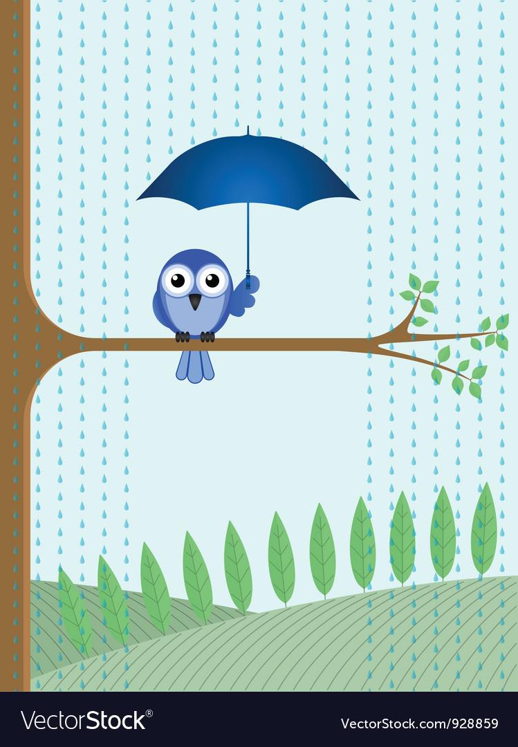 Bird tree rain vector   Price: 1 Credit (USD $1)