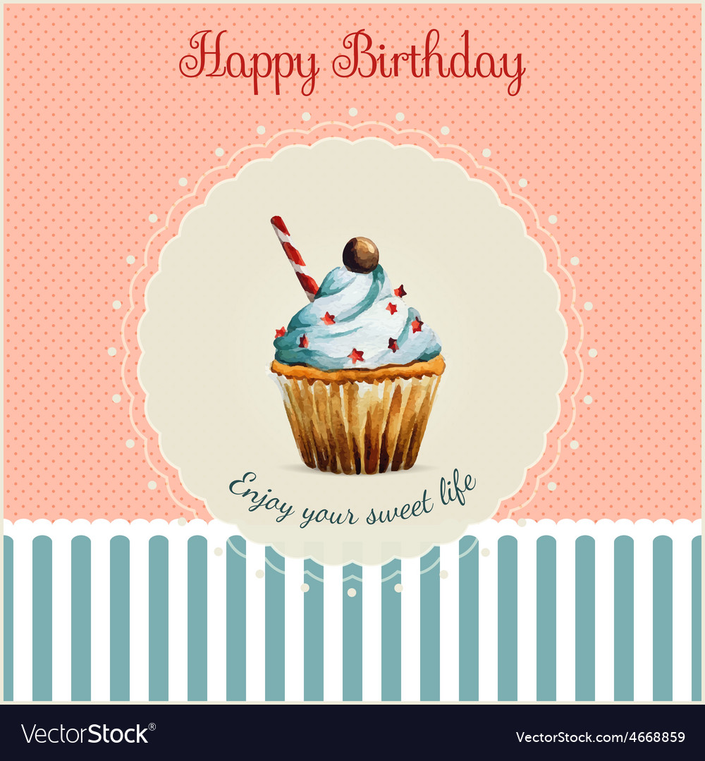 Birthday greeting card template with watercolor vector   Price: 1 Credit (USD $1)