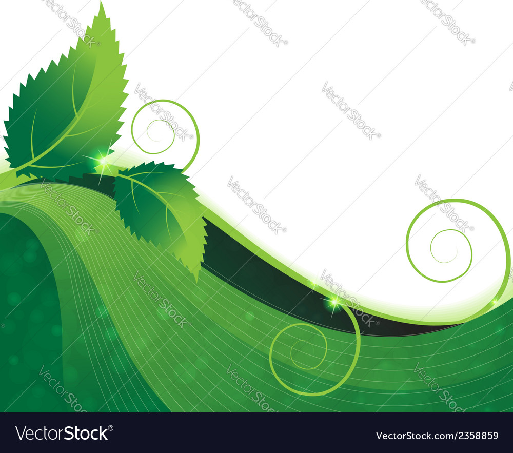 Branch with green leaves vector | Price: 1 Credit (USD $1)