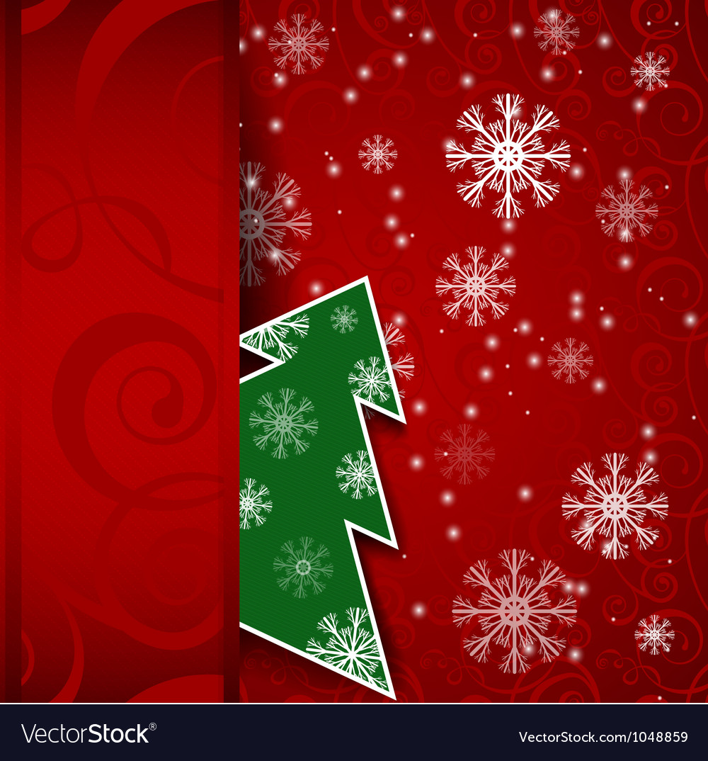 Christmas tree horizontal postcard vector | Price: 1 Credit (USD $1)