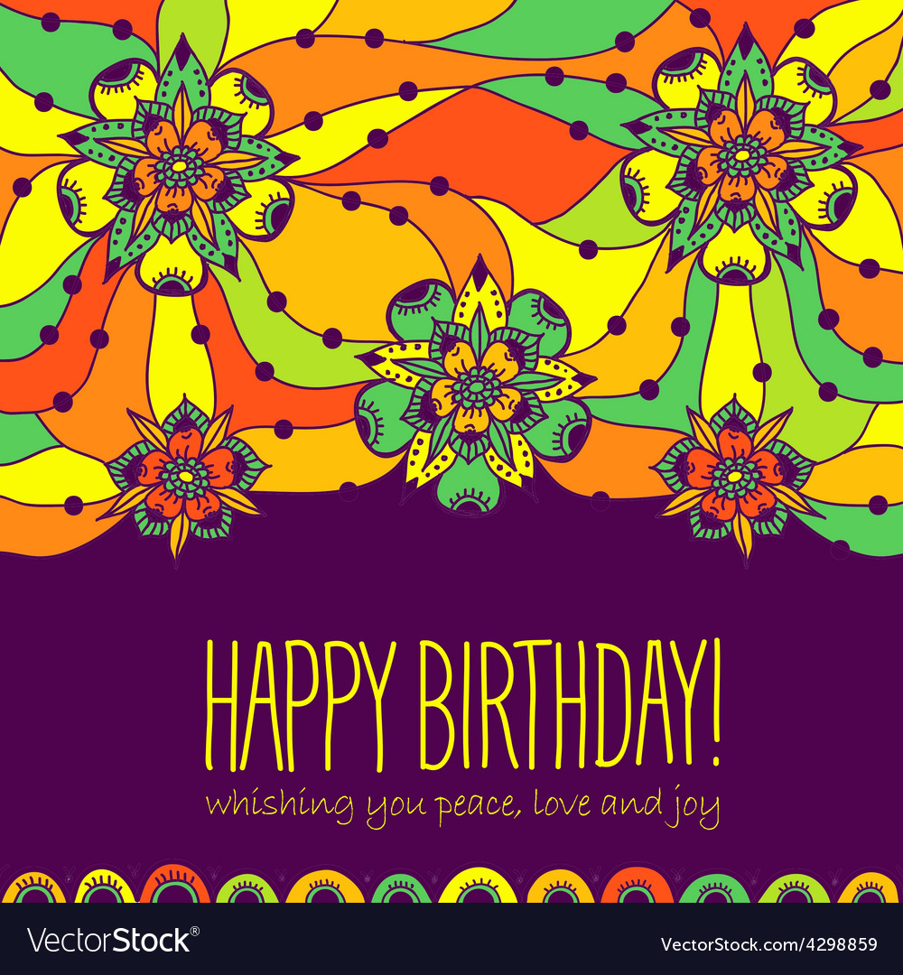 Colorful greeting card happy birthday vector | Price: 1 Credit (USD $1)
