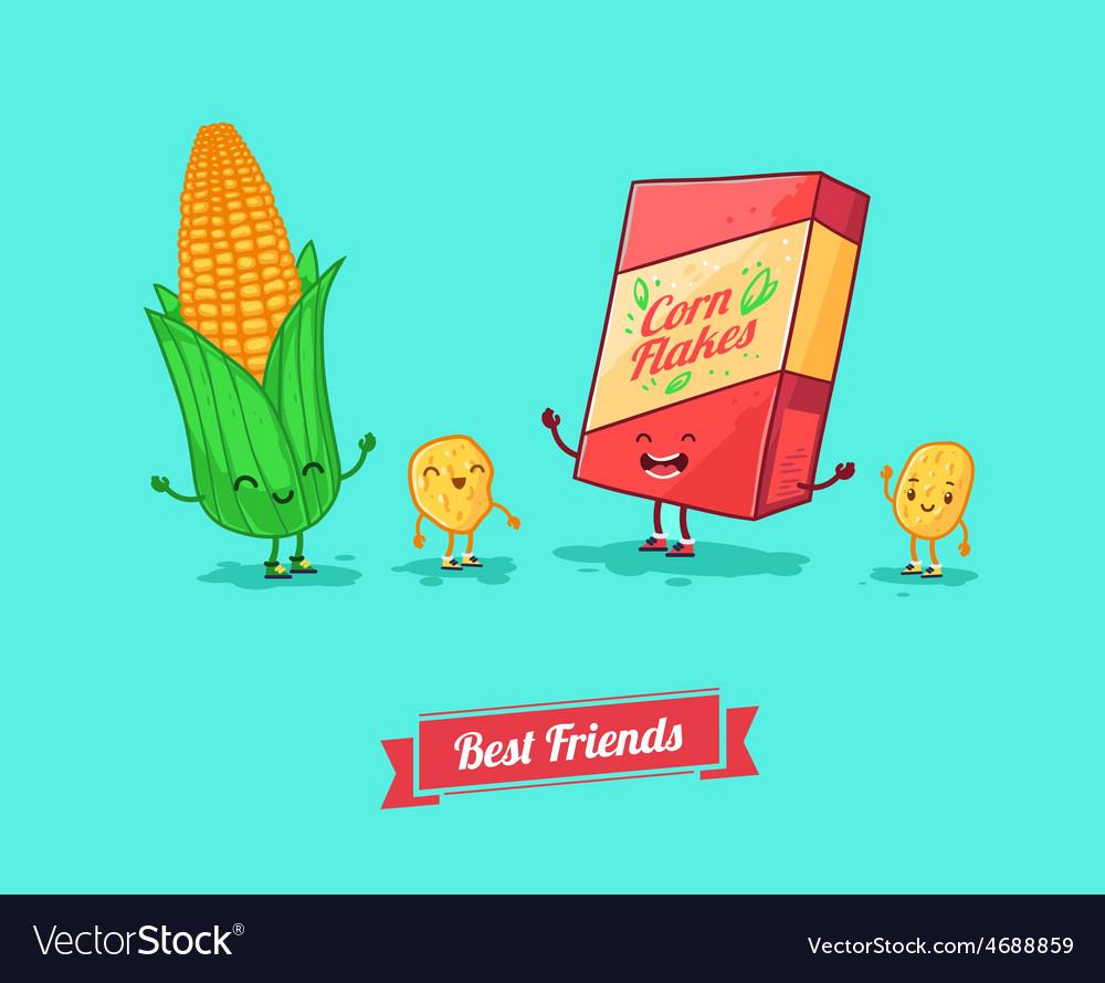 Funny cartoon funny cornflake and corn vector | Price: 1 Credit (USD $1)