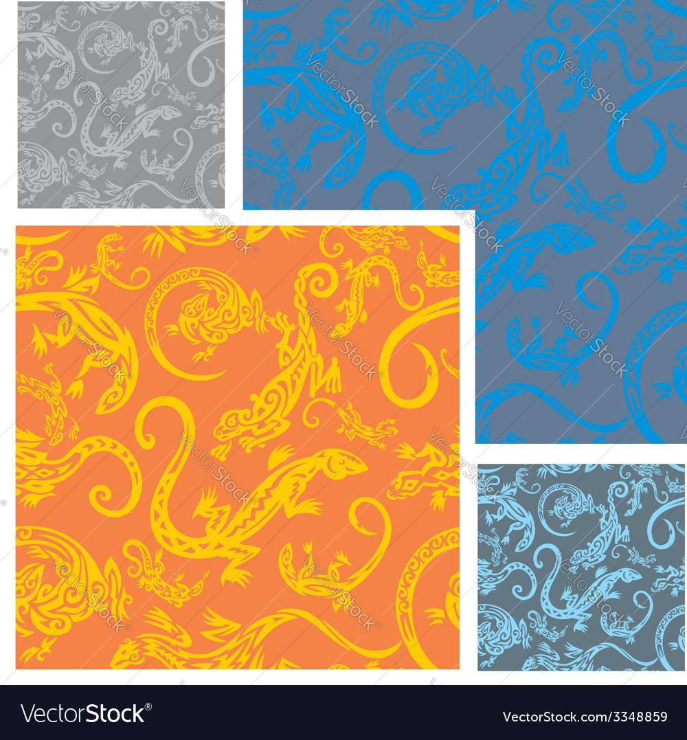 Lizards - seamless pattern set vector | Price: 1 Credit (USD $1)