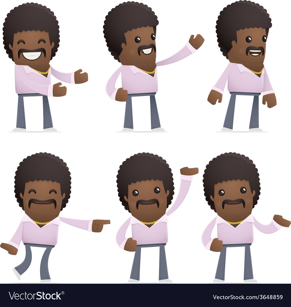 Set of disco man character in different poses vector | Price: 3 Credit (USD $3)