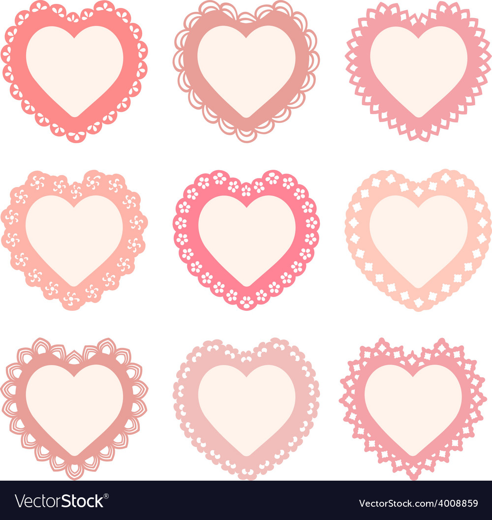 Set of heart shaped frames vector | Price: 1 Credit (USD $1)