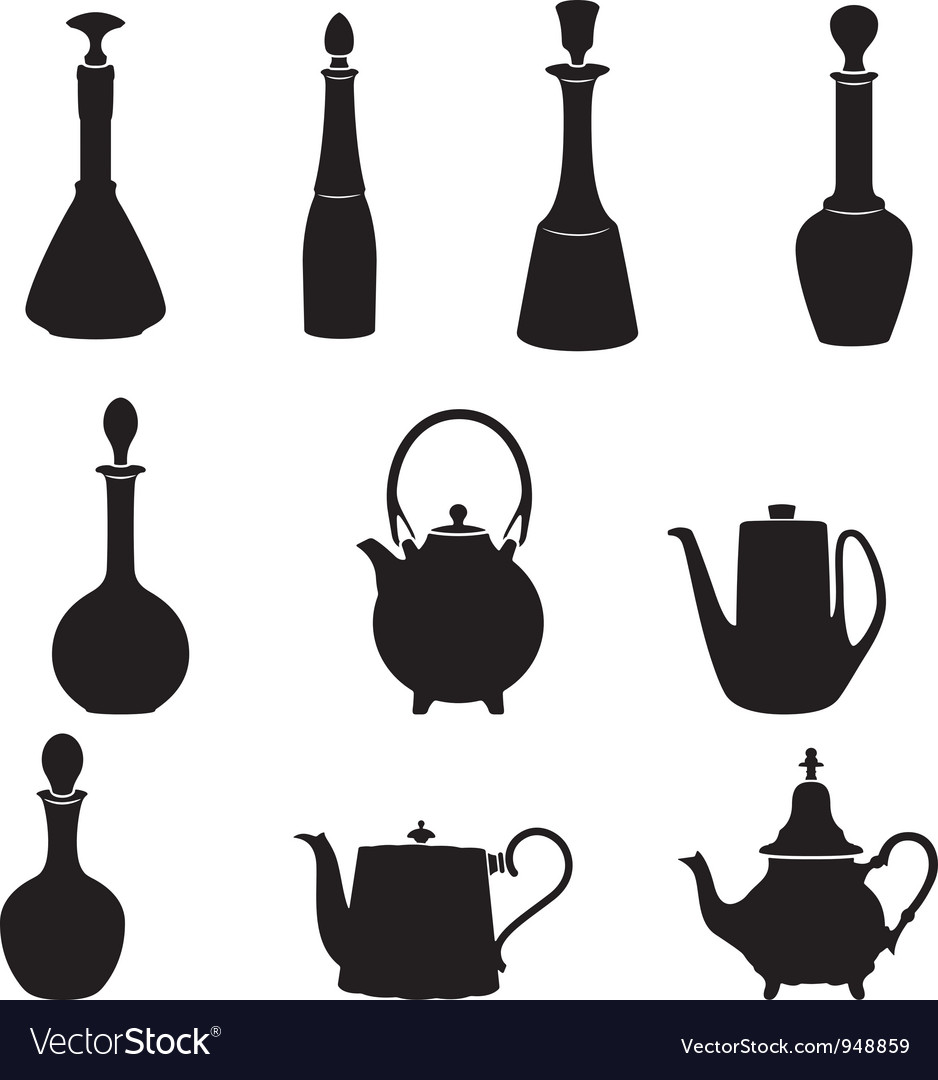 Six bottles and four teapots vector | Price: 1 Credit (USD $1)