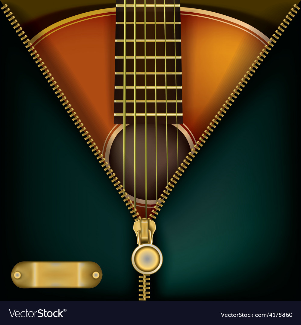 Abstract music green background with guitar and vector | Price: 3 Credit (USD $3)