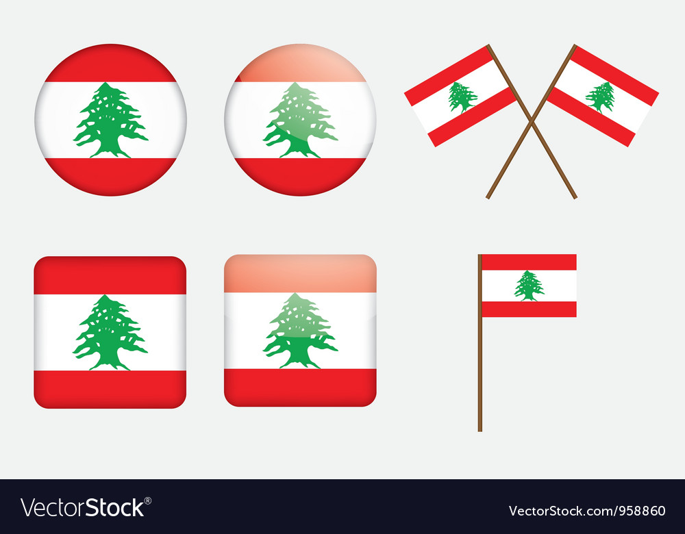 Badges with flag of lebanon vector | Price: 1 Credit (USD $1)