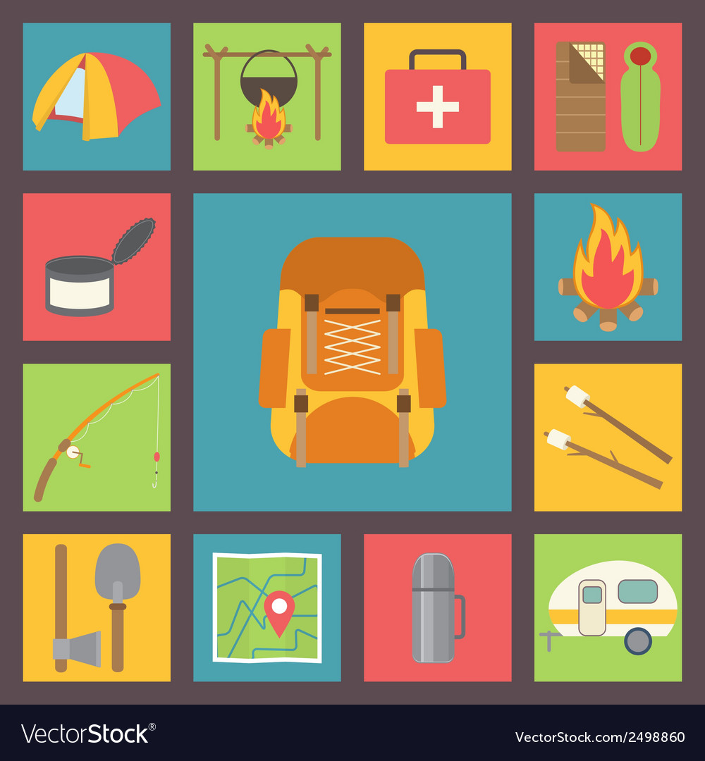 Camping icons set vector   Price: 1 Credit (USD $1)