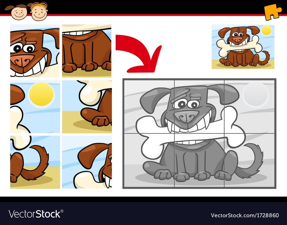 Cartoon dog jigsaw puzzle game vector | Price: 1 Credit (USD $1)