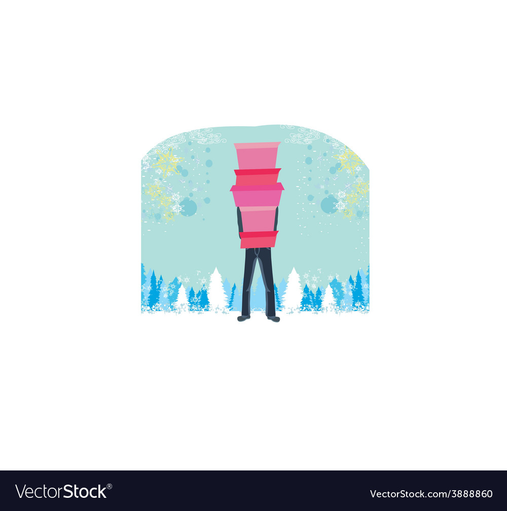 Christmas shopping - winter sale card man shopping vector | Price: 1 Credit (USD $1)
