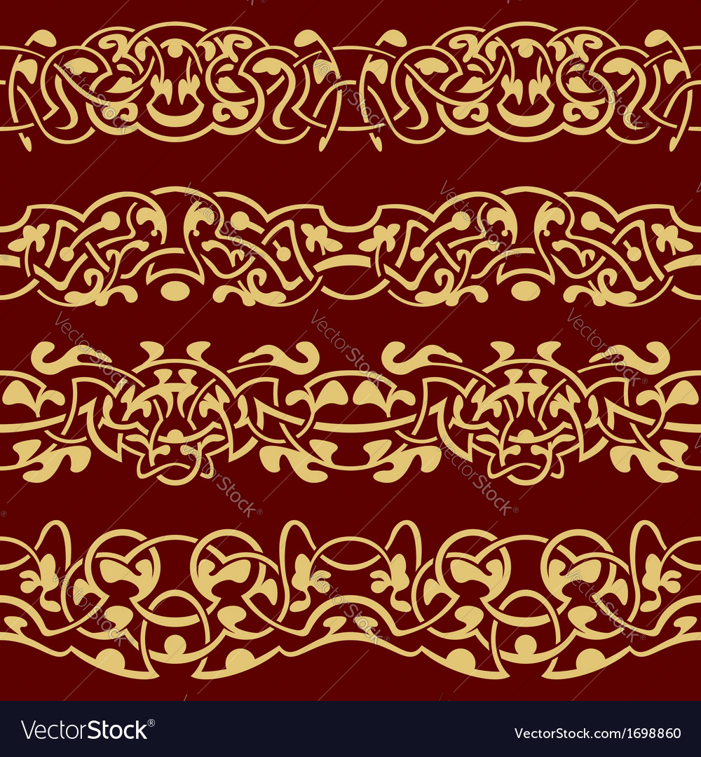 Collection of gold floral seamless border design e vector | Price: 1 Credit (USD $1)
