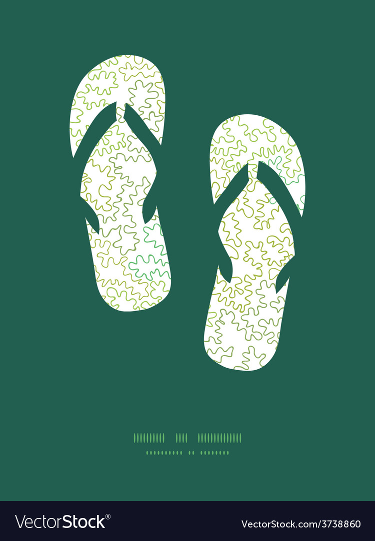 Curly doodle shapes flip flops silhouettes vector | Price: 1 Credit (USD $1)