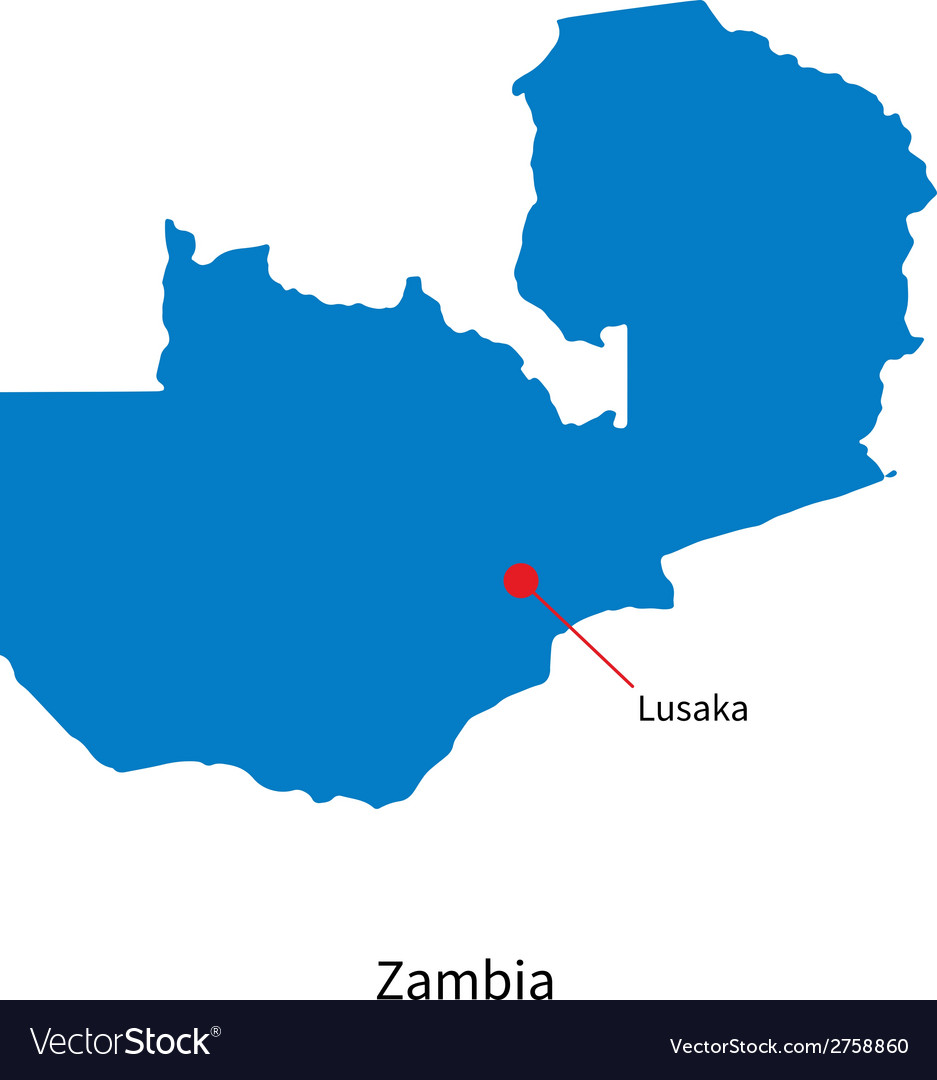 Detailed map of zambia and capital city lusaka vector | Price: 1 Credit (USD $1)