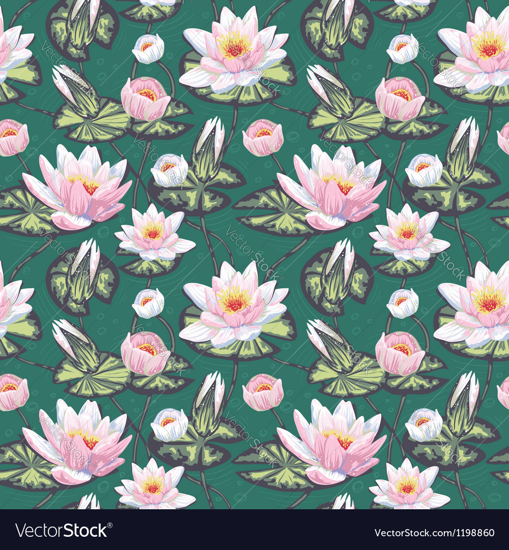 Elegant floral seamless pattern with water lily vector | Price: 1 Credit (USD $1)