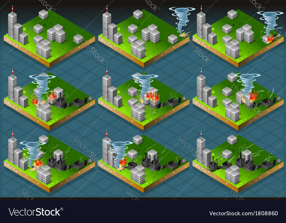 Isometric natural disaster tornado classifications vector | Price: 1 Credit (USD $1)