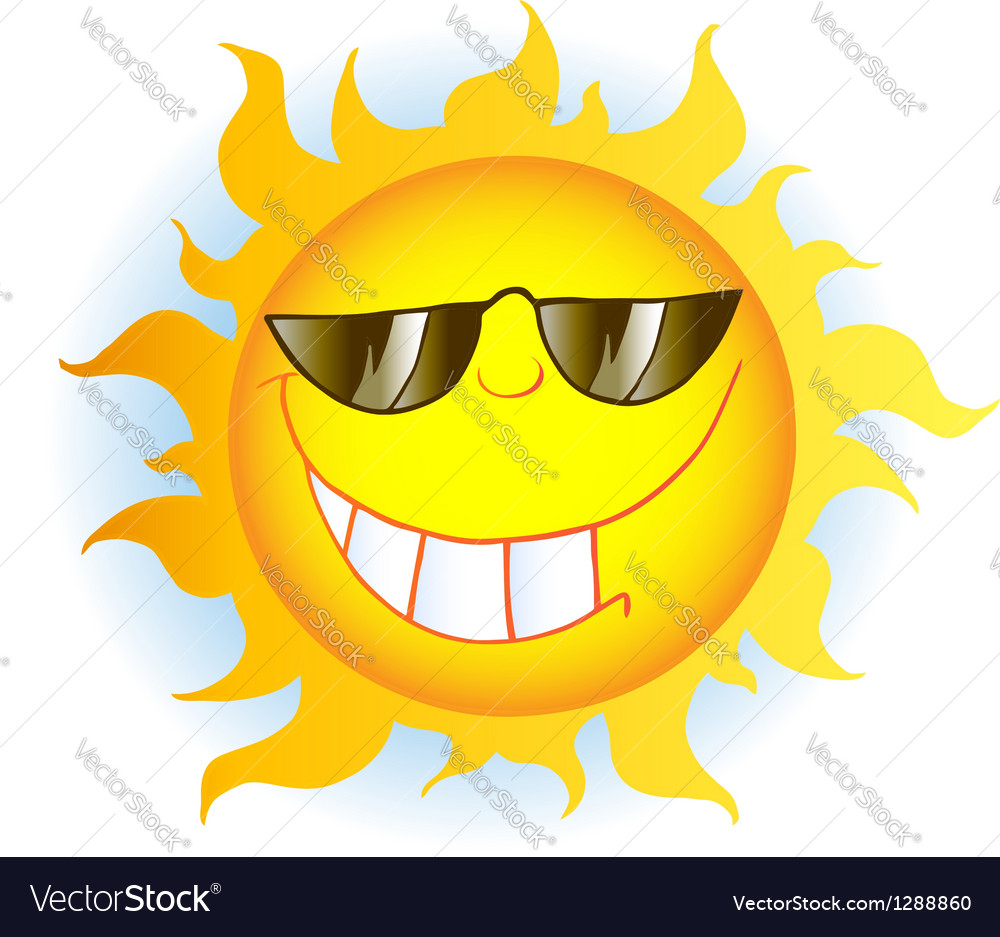 Sun cartoon mascot character with sunglasses vector | Price: 1 Credit (USD $1)