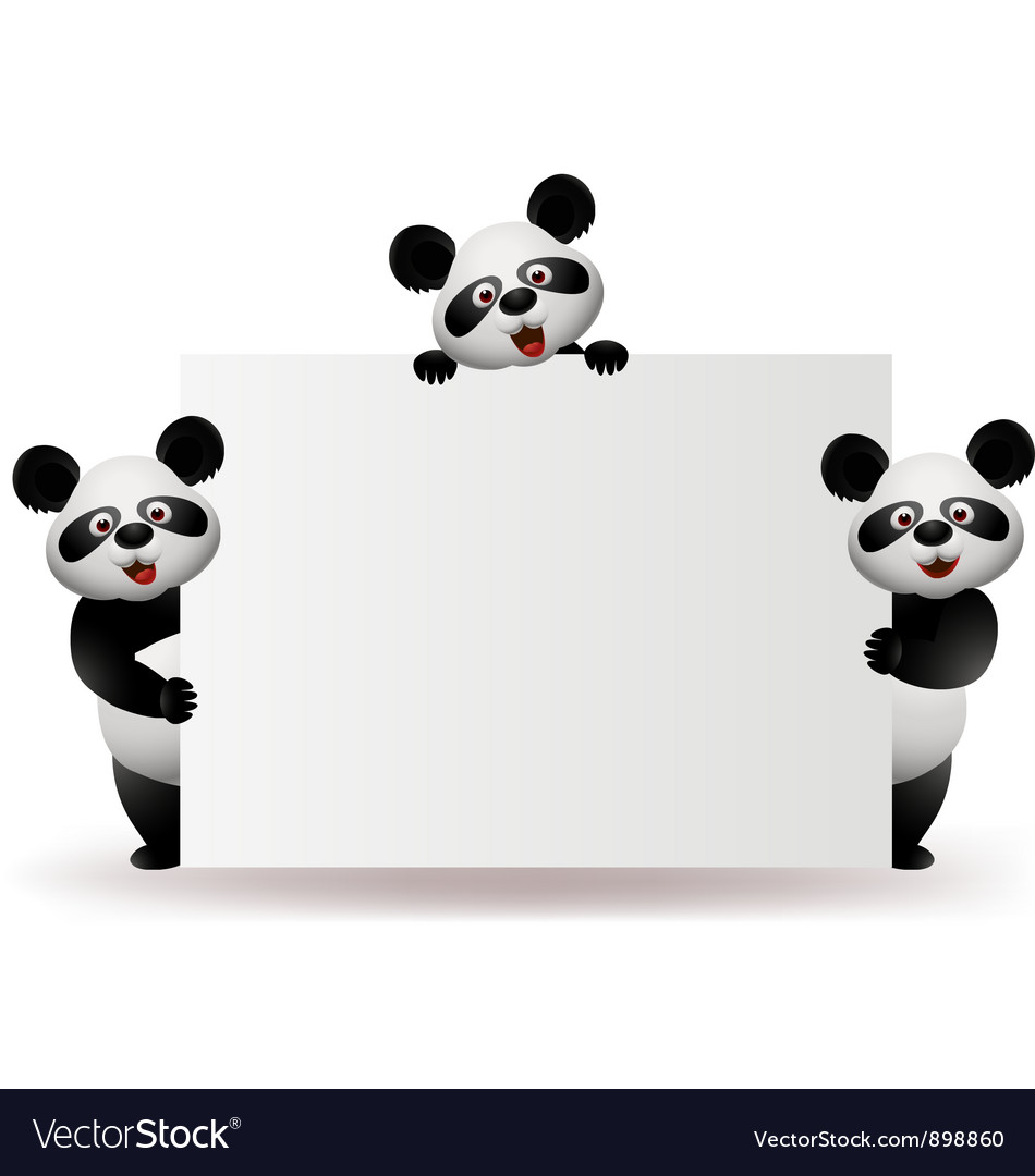Three pandas with blank sign vector | Price: 3 Credit (USD $3)
