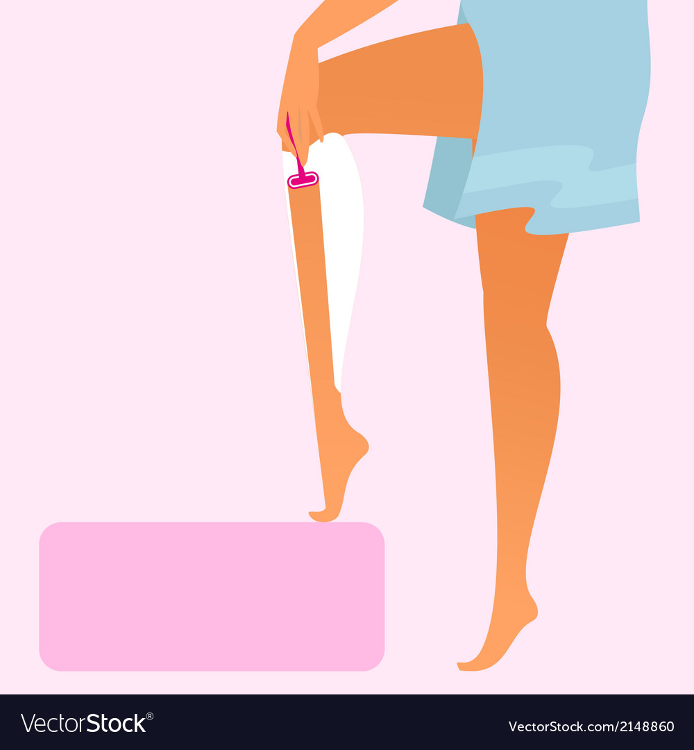 Woman wearing blue towel is shaving her leg vector | Price: 1 Credit (USD $1)