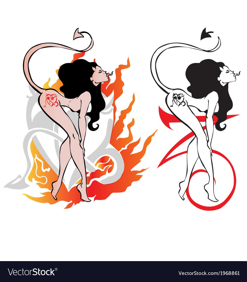 Devil woman dancing striptease for tattoo design vector | Price: 1 Credit (USD $1)