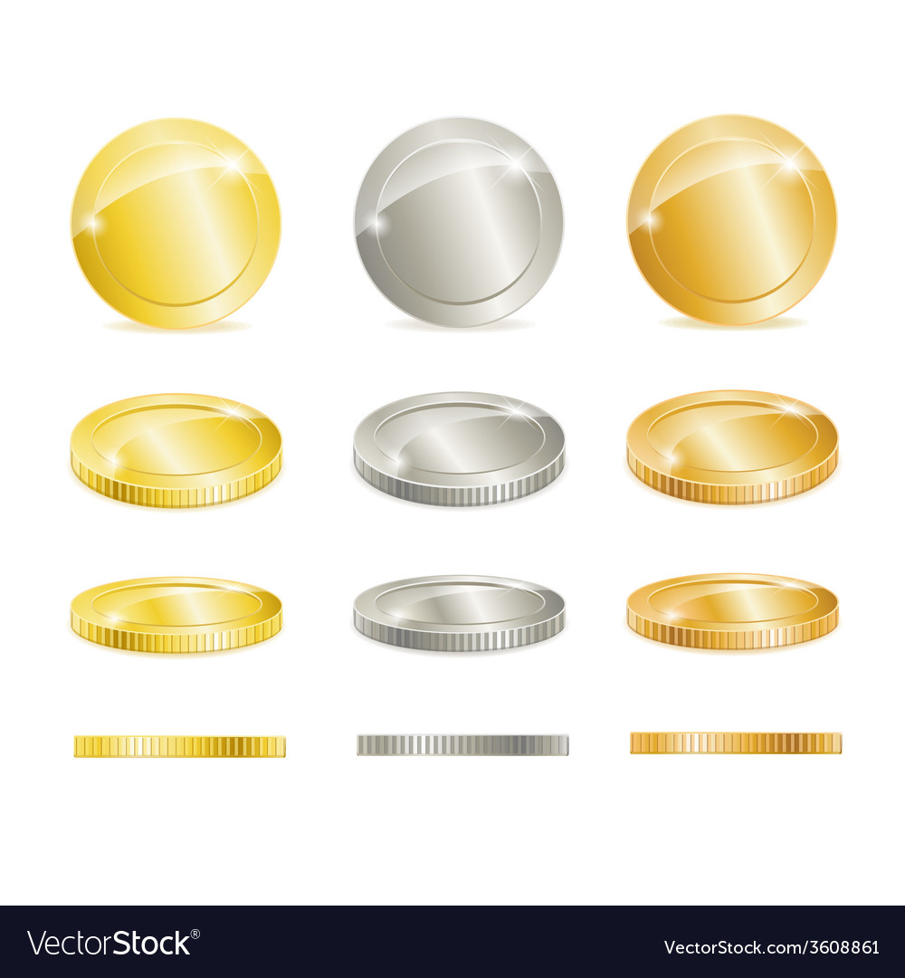 Gold silver and copper coins vector | Price: 1 Credit (USD $1)