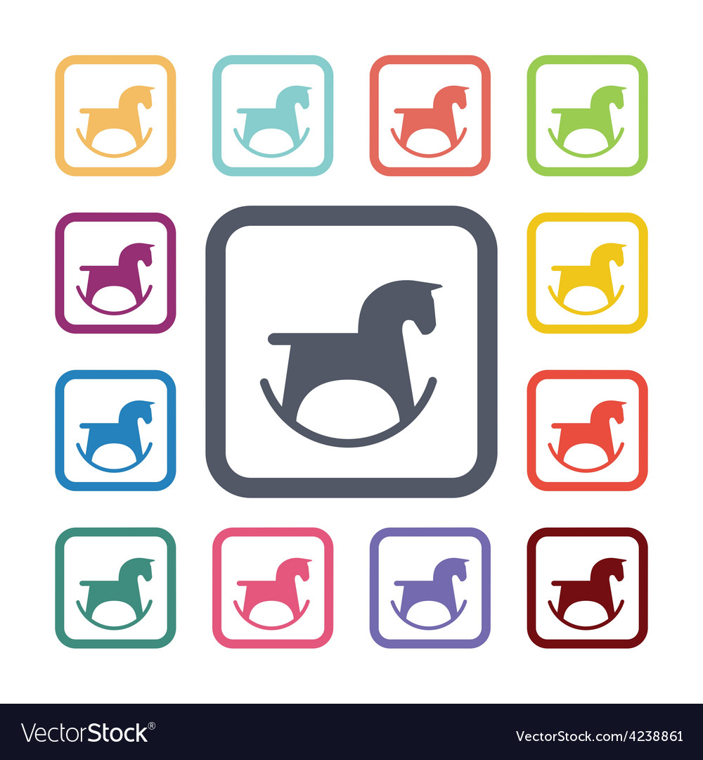 Horse toy flat icons set vector | Price: 1 Credit (USD $1)