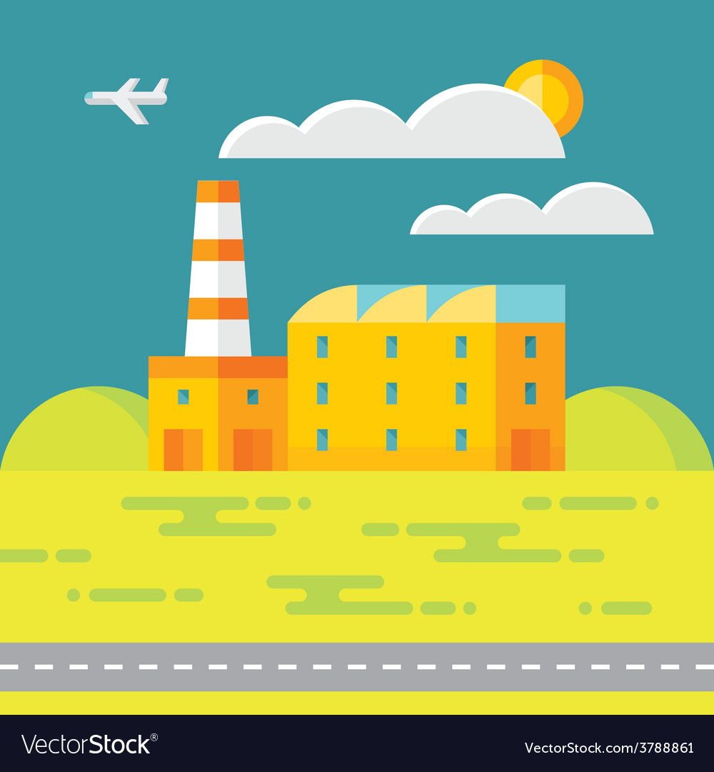 Industrial factory building - vector | Price: 1 Credit (USD $1)