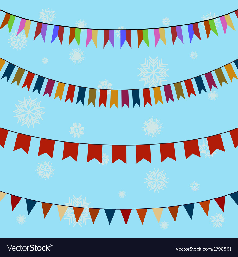 Set of festive colored flags on curved ropes vector | Price: 1 Credit (USD $1)