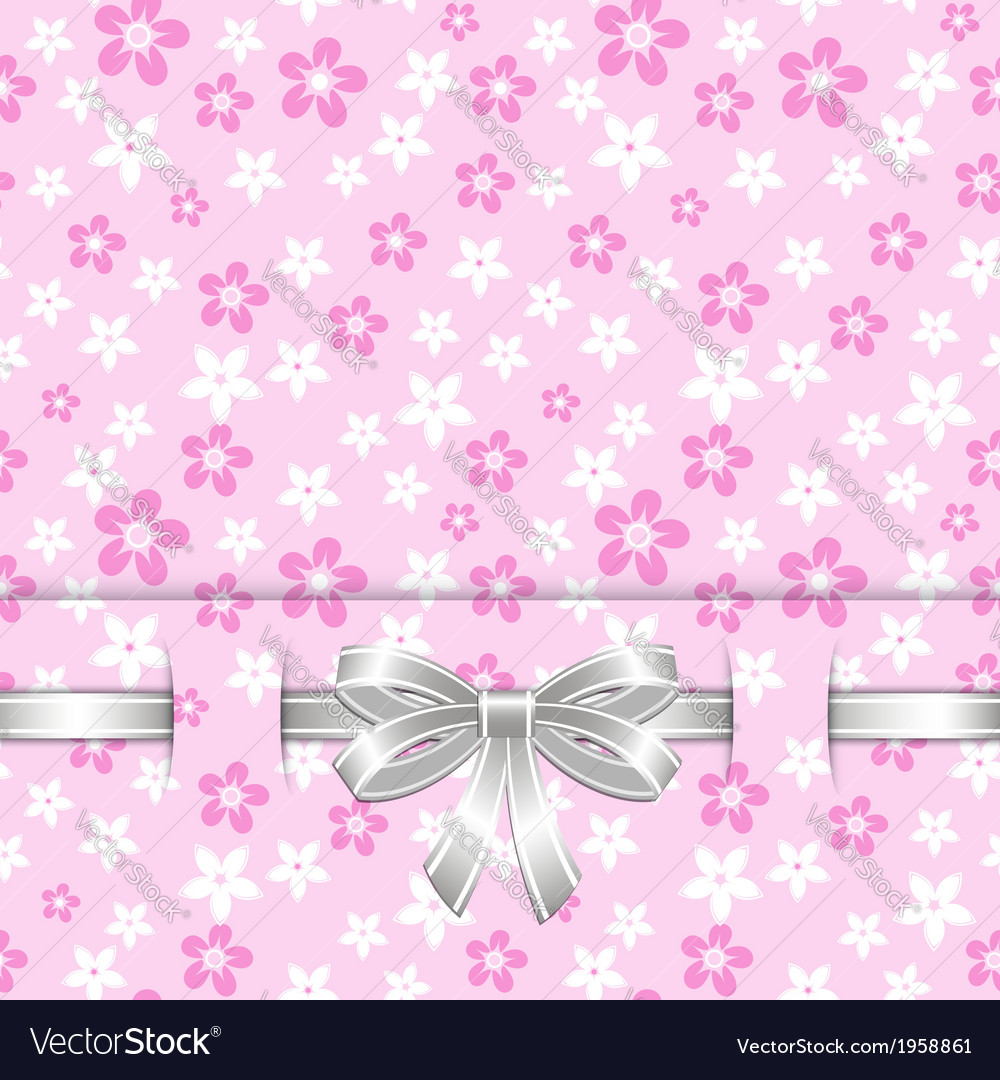 Spring card template with bow pink vector   Price: 1 Credit (USD $1)
