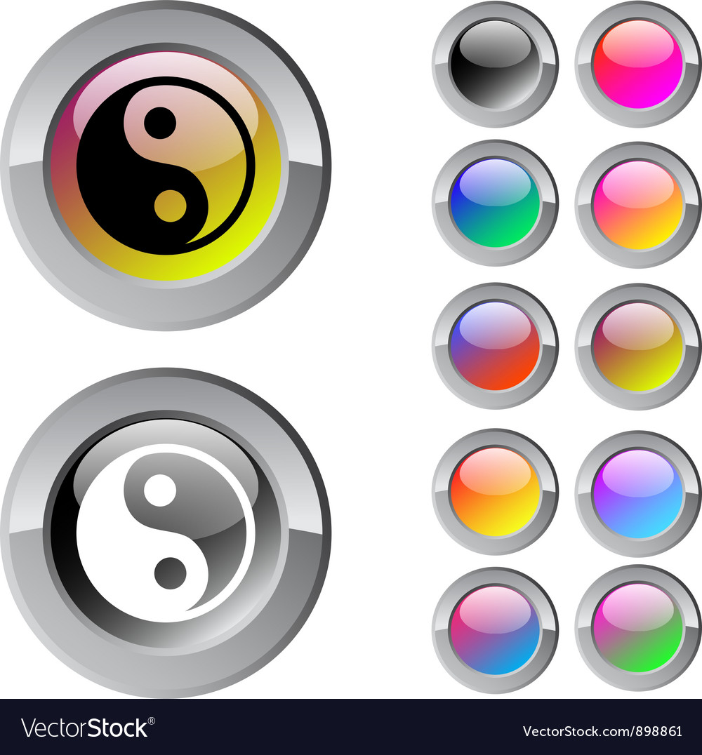 Ying yang multicolor round button vector | Price: 1 Credit (USD $1)