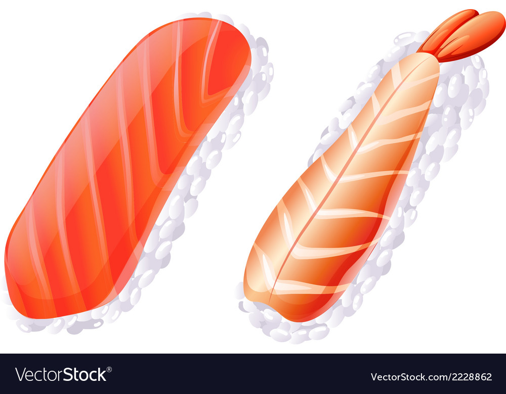 A meat and a fish sushi vector | Price: 1 Credit (USD $1)