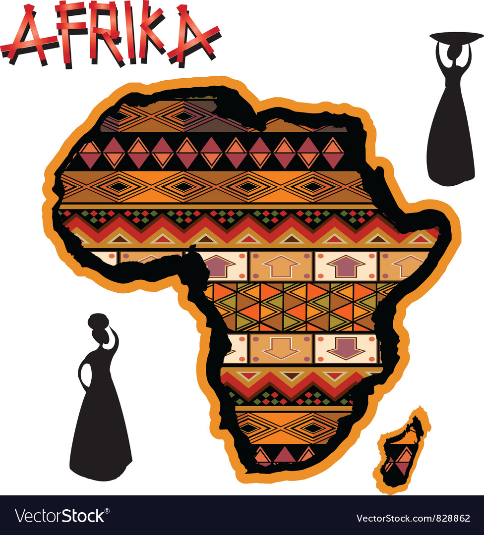 Africa traditional map vector | Price: 1 Credit (USD $1)