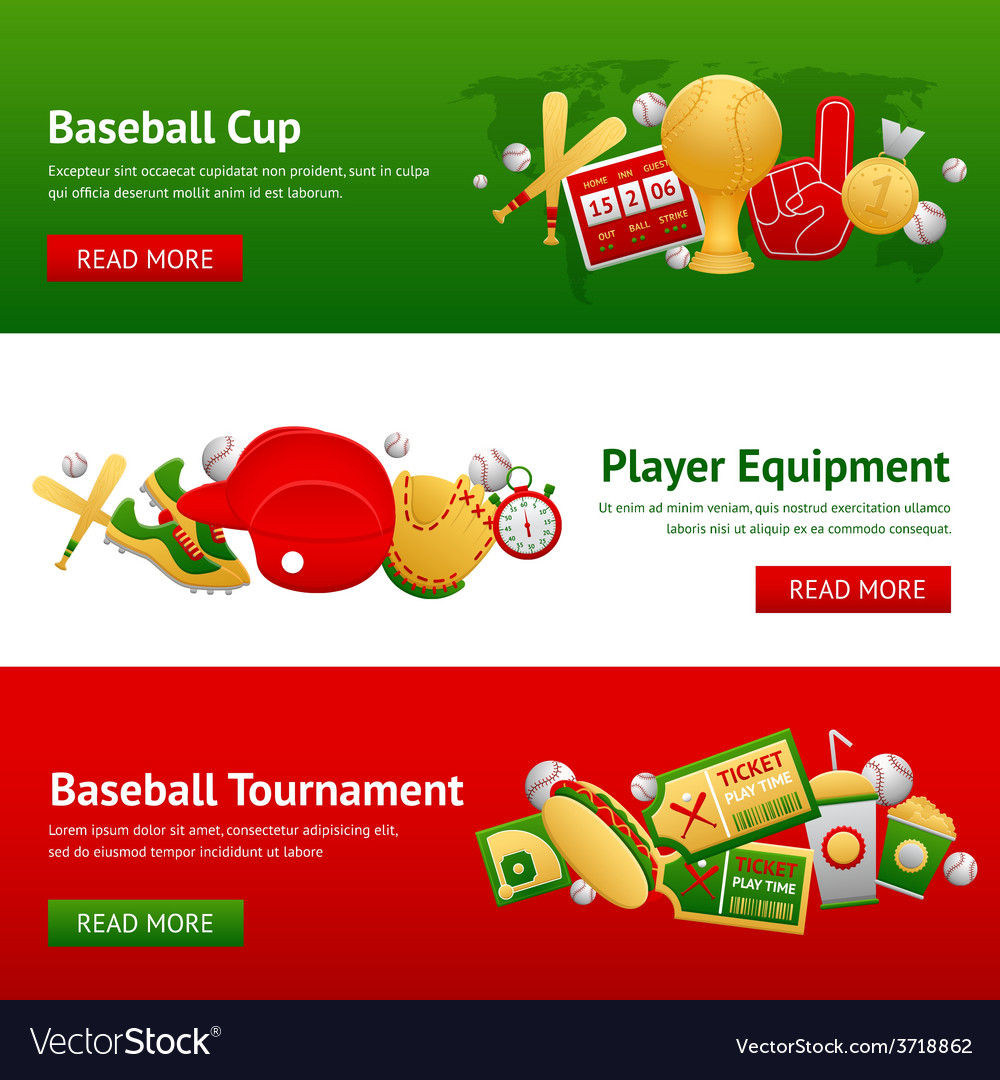 Baseball banner set vector | Price: 1 Credit (USD $1)