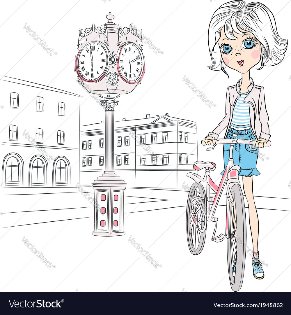Beautiful fashionable girl with a bike on town squ vector | Price: 1 Credit (USD $1)