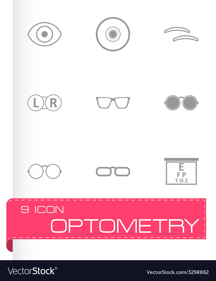 Black optometry icons set vector | Price: 1 Credit (USD $1)