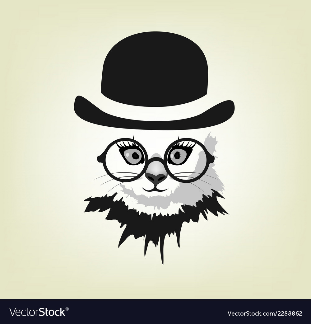 Cat in the hat and glasses vector | Price: 1 Credit (USD $1)