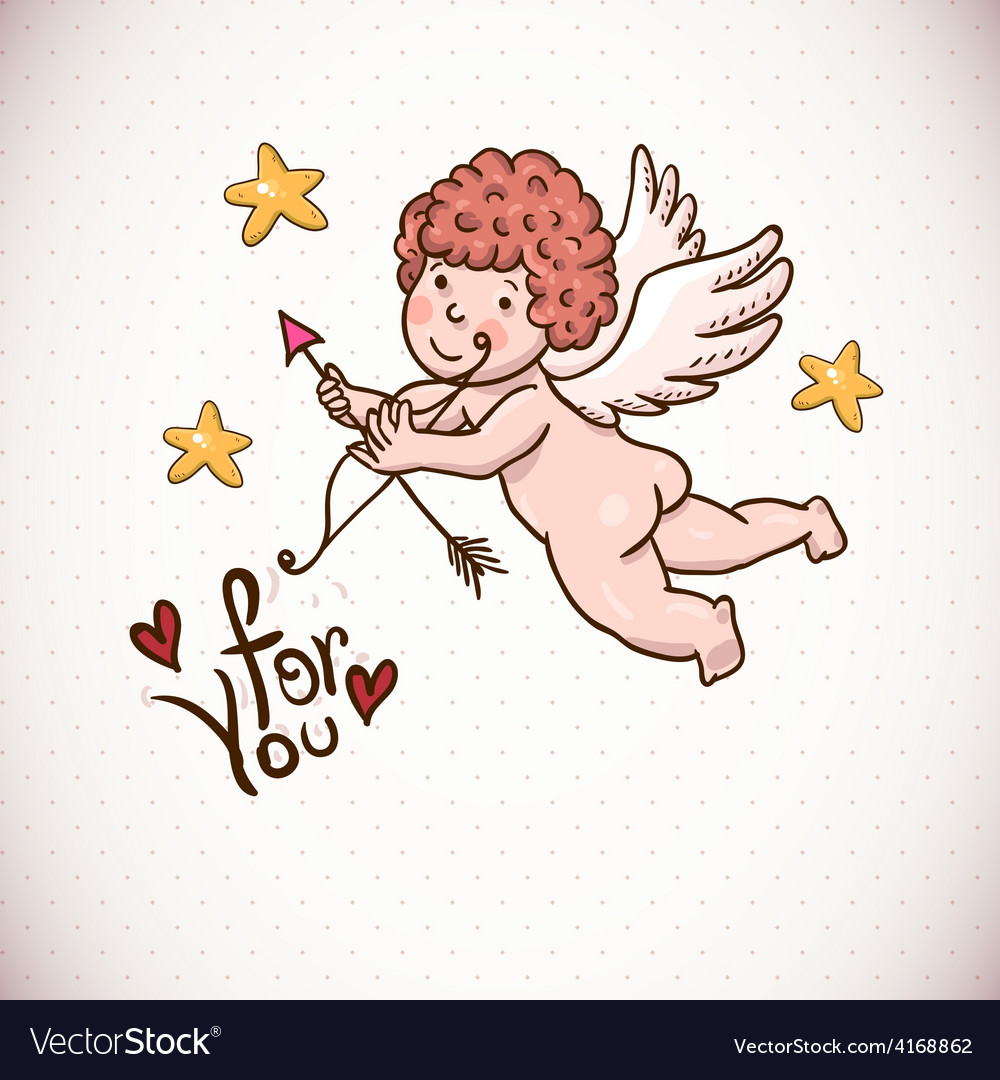 Doodle vintage greeting card with cartoon cupid vector | Price: 1 Credit (USD $1)