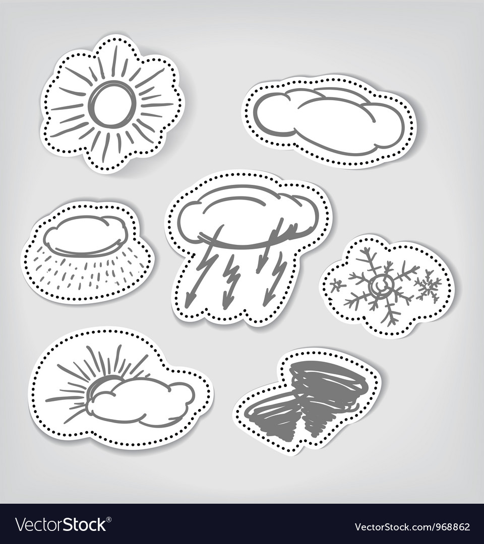 Hand-drawn weather icons set vector | Price: 1 Credit (USD $1)
