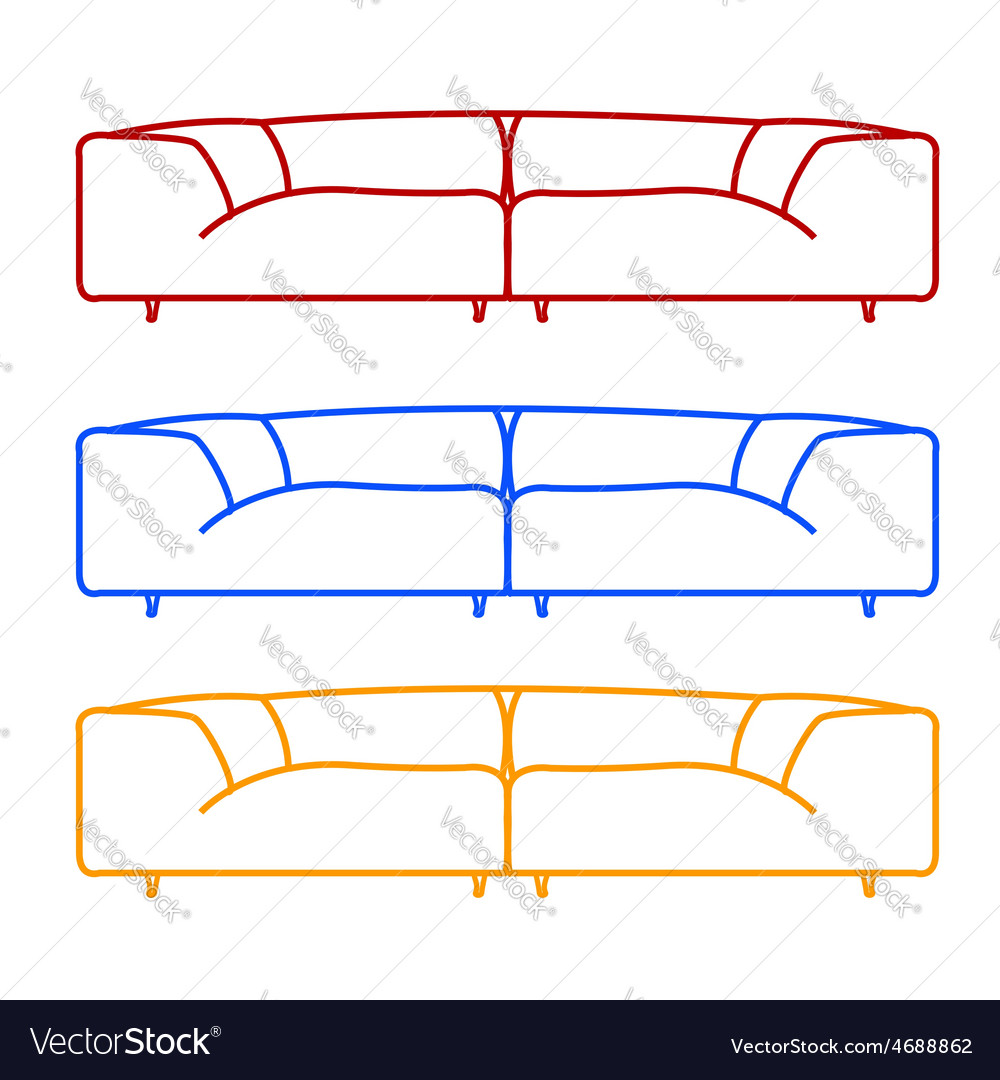 Living room sofas in different colors vector
