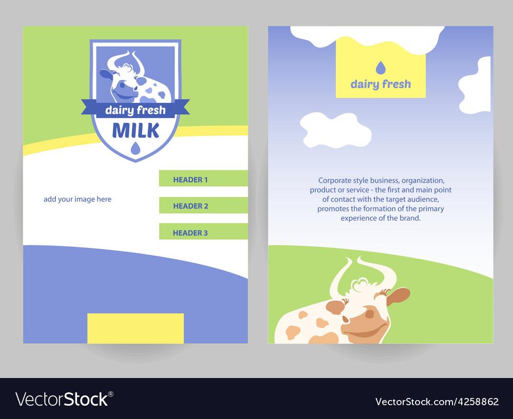 Milk dairy fresh flyer vector | Price: 1 Credit (USD $1)