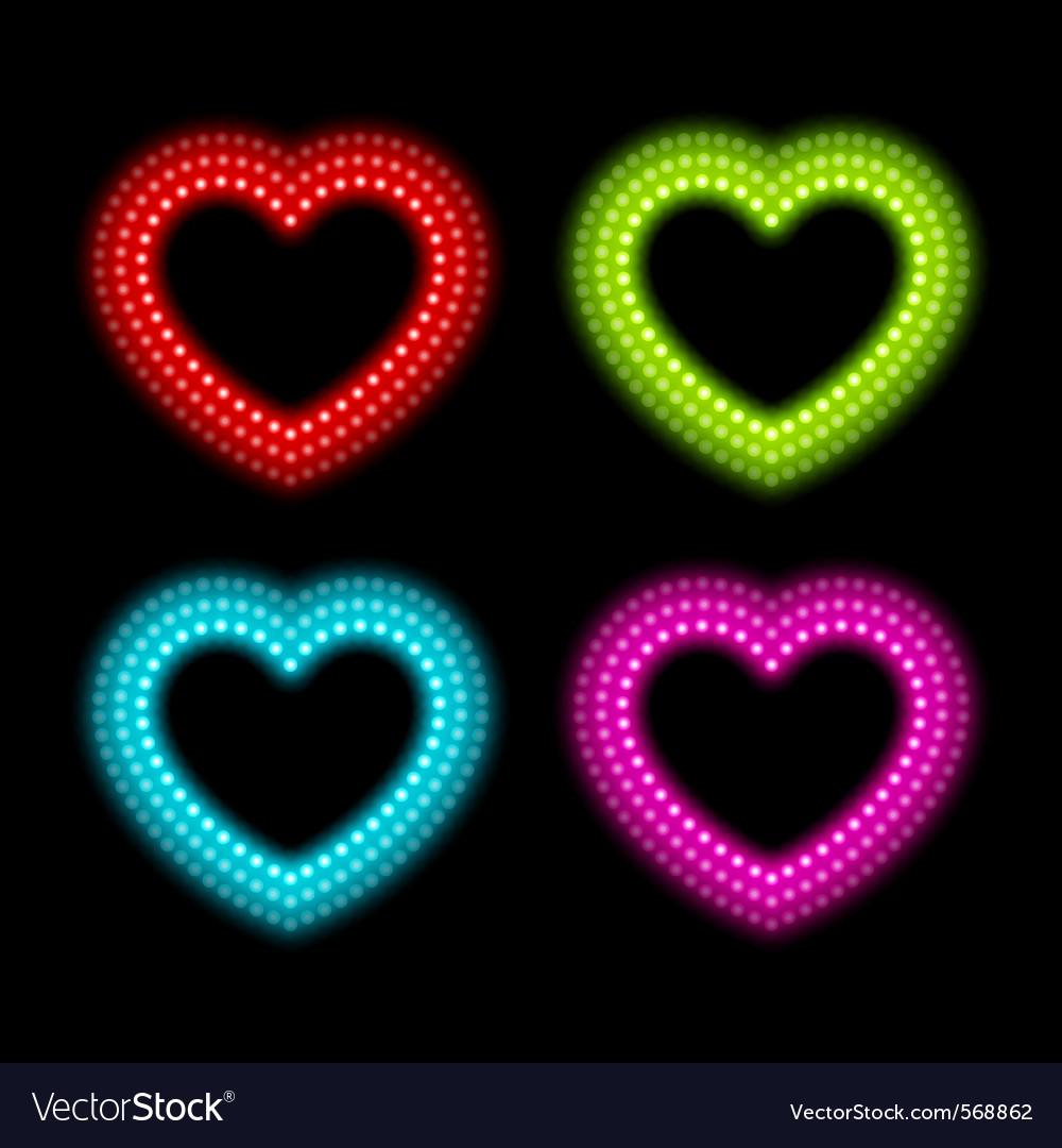 Neon heart signs vector   Price: 1 Credit (USD $1)